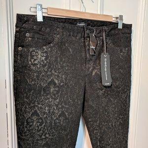 NWT Bebe Flocked Damask Icon Hyde Park Skinny Pant